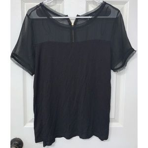 H&M Black Shirt with Sheer Top